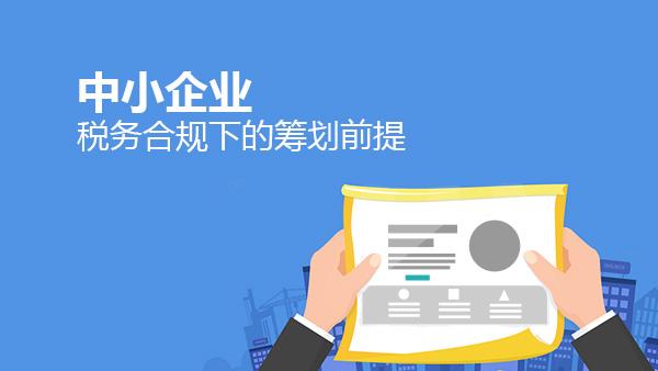 财务经理培训网课-中小企业税务合规下的筹划前提