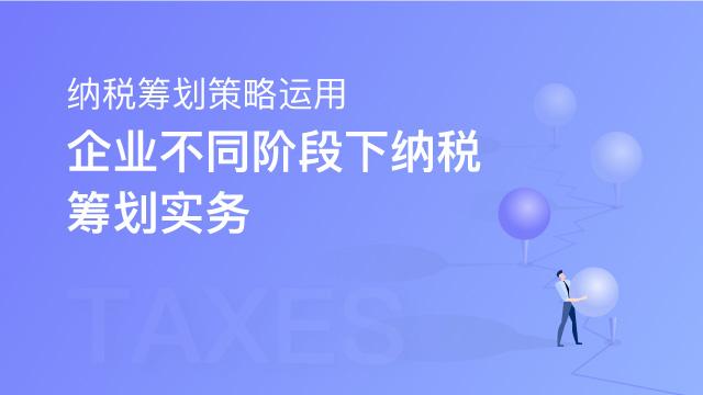 纳税筹划策略运用——企业不同阶段下纳税筹划实务