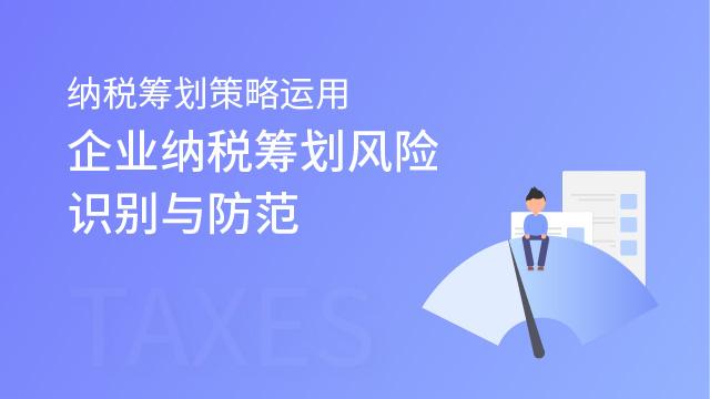 纳税筹划策略运用——企业纳税筹划风险识别与防范