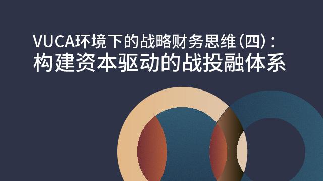 VUCA环境下的战略财务思维(四):构建资本驱动的战投融体系