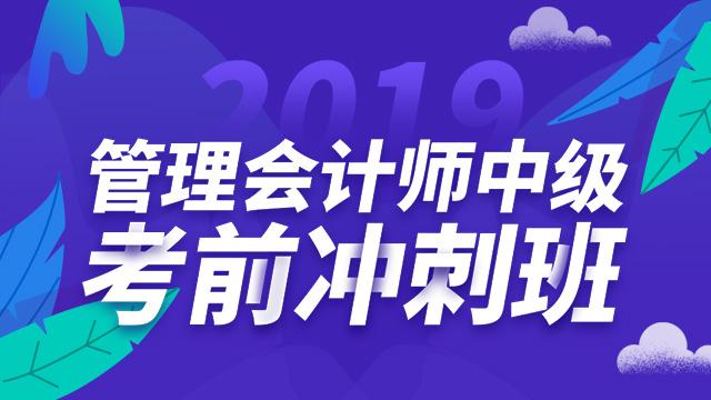 2019管理会计师中级 考前冲刺班